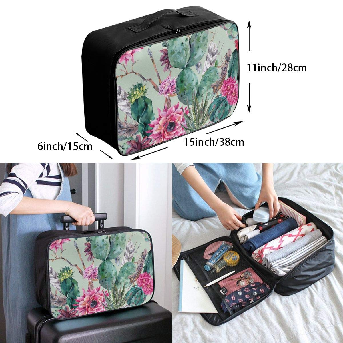 Portable Duffle Bag for Travel Gym Sports Lightweight Luggage Duffel Tote Bag for Men Women Cactus Flower Floral