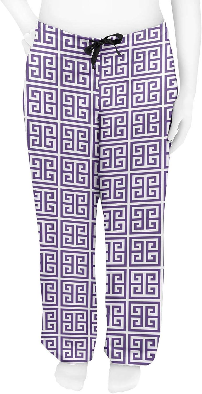L Purple RNK Shops Greek Key Womens Pajama Pants Personalized