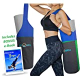 JOYnWELL Yoga Mat Bag with 2 Large Size Pockets, 1 Zipper Pocket and Bonus e-Book - Yoga Mat Carrier with Strap for Women and Men - Stylish Yoga Tote Sling - Yoga Accessories Carrier Fits Most Size Yoga Mats