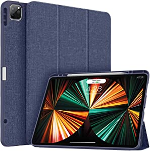 Soke New iPad Pro 12.9 Case 2021 with Pencil Holder - [Full Body Protection + 2nd Gen Apple Pencil Charging + Auto Wake/Sleep], Soft TPU Back Cover for 2021 iPad Pro 12.9 inch (Dark Blue)