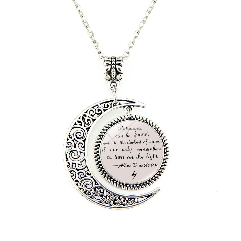 Quote Jewelry   Amazon Com Moon Pendant Inspirational Pendants Necklace Albus