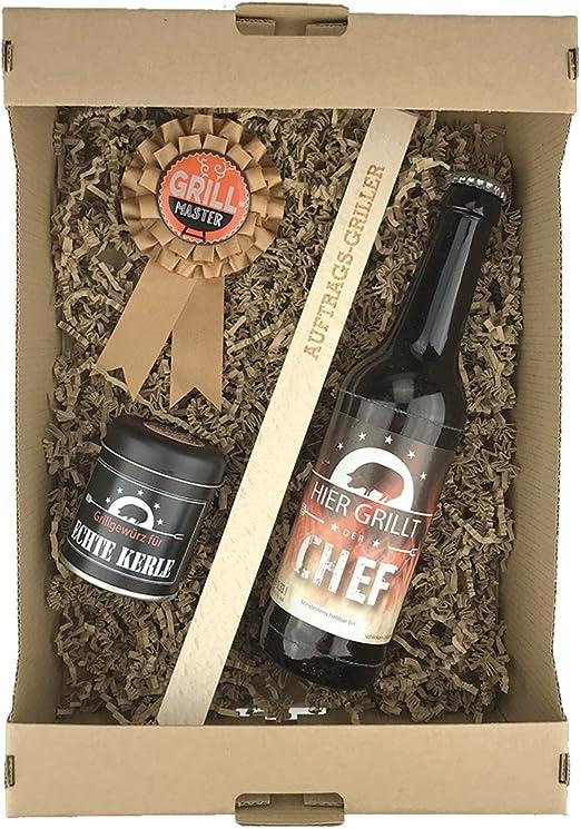 schenken-24 Juego de 4 caja de regalo Grillmeister/día del padre/cerveza/Barbacoa Especias/Pinzas de barbacoa/día del padre/muñeco de Papa//Griller/Cumpleaños: Amazon.es: Jardín