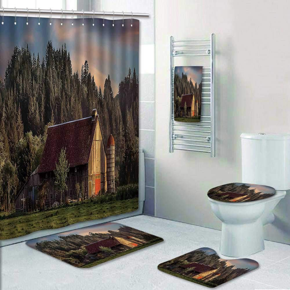 Philip-home 5 Piece Banded Shower Curtain Set Farmhouse Idyllic Sun at Countryside Rural with Wood Barn Pine Trees Village LandscapeMulti Decorate The Bath