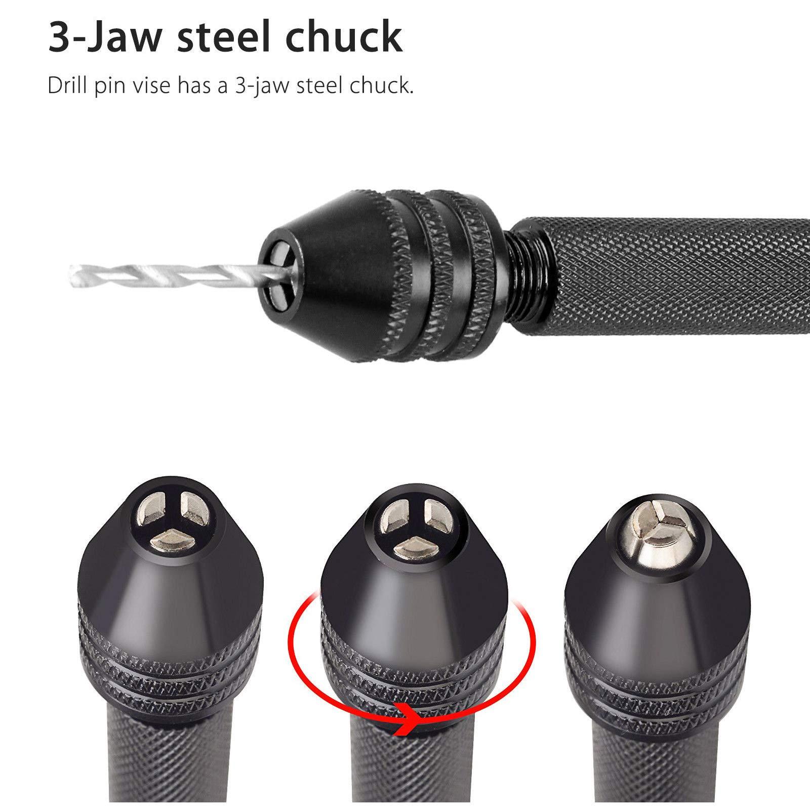Pin Vise Hand Drill Bits(10PCS), Micro Mini Twist Drill Bits Set with Precision Hand Pin Vise Rotary Tools for Wood, Jewelry, Plastic etc (0.5-2.0mm)