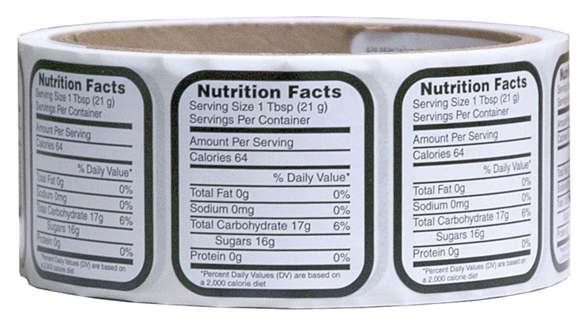 Mann Lake 250 Count Nutrition Label, X-Small