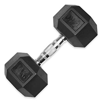 Mancuernas hexagonales de goma – 10 kg a 20 kg (se vende en único) gimnasio en casa Fitness ejercicio entrenamiento formación 10 kg, 12 kg, 14 kg, 15 ...