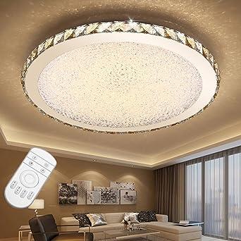 ETiME 36W Deckenleuchte mit Fernbedienung Kristall LED Dimmbar Ø42cm  Deckenlampe Rund 2700K-6500K Wohnzimmer Schlafzimmer Esszimmer Lampe (36W  Ø42cm ...