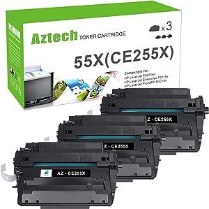 Aztech Compatible Toner Cartridge Replacement for HP 55X CE255X 55A CE255A Toner for HP Laserjet P3015 P3015dn P3015x HP Laserjet Pro 500 MFP M521dn M521dw M521 M525 (Black, 3-Pack)