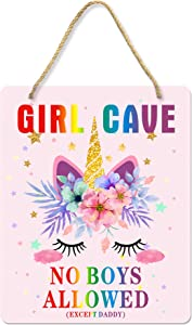Uflashmi Girl Cave Sign, Little Baby Girl Room Decor Bedroom Wall Decor, 8x10 inch Metal Aluminum, Unicorn