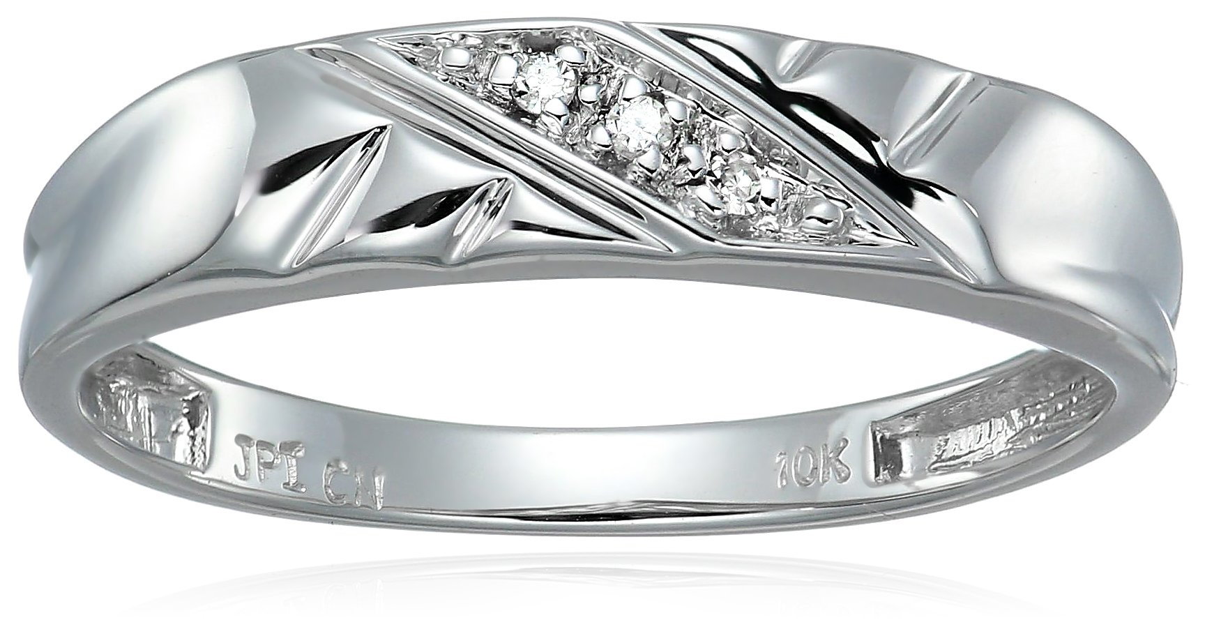 Women's 10k White Gold Diamond-Accent Diamond Wedding Band