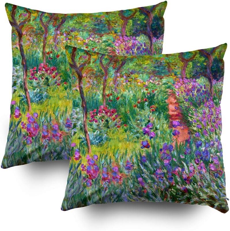 TOMWISH 2 Packs Hidden Zippered Pillowcase Claude Monet The iris Garden at Giverny 18X18Inch,Decorative Throw Custom Cotton Pillow Case Cushion Cover for Home