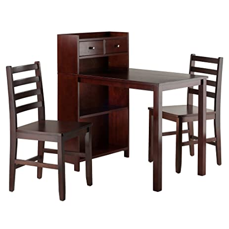 Winsome Wood Tyler 3 Piece Set Table, Storage Shelf With Two Ladder Back  Chairs