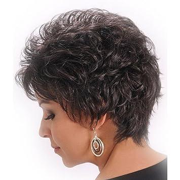 SHKY Mujeres Señora Nueva peluca de pelo corto ondulado Pelucas de cabeza llena resistente al calor