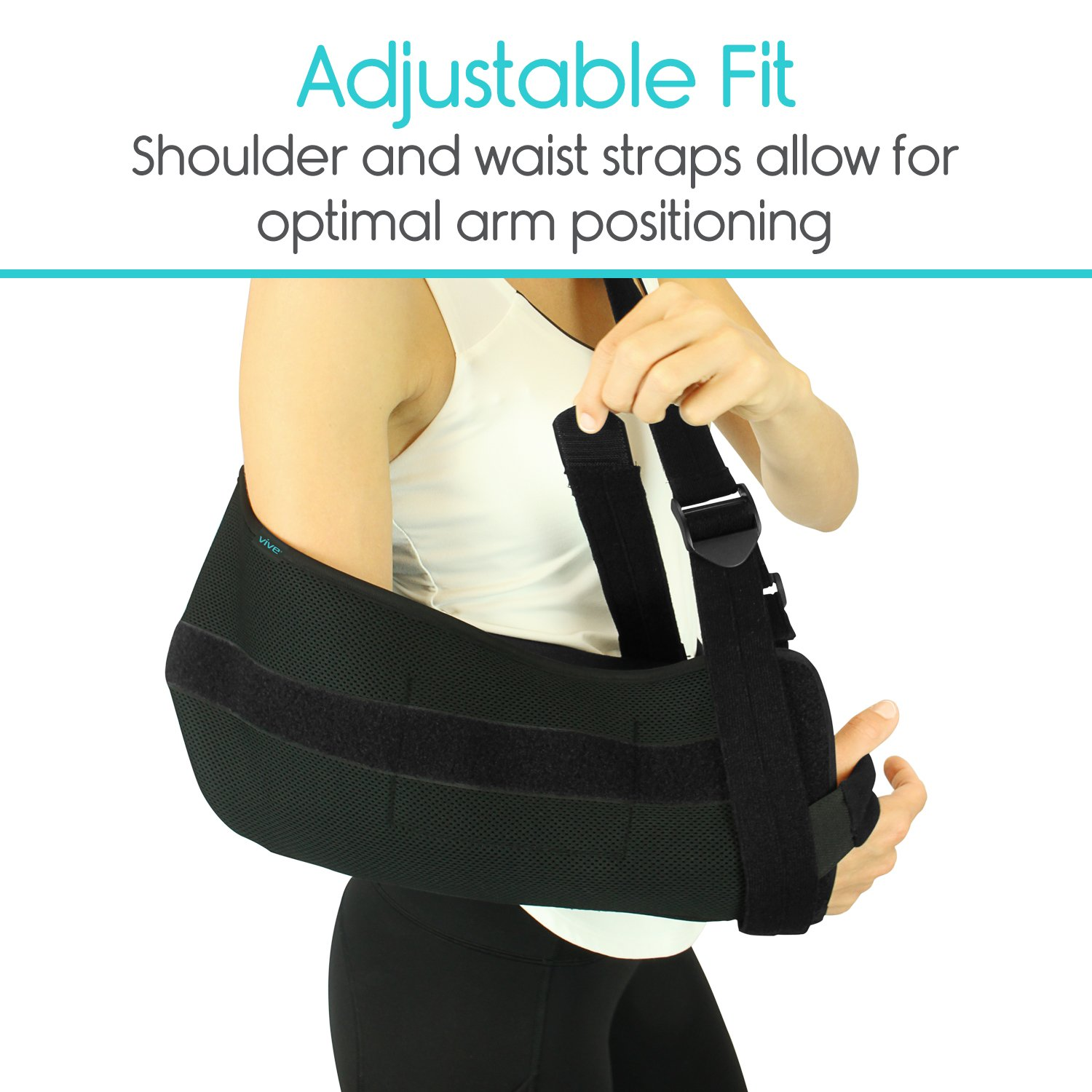 Vive Shoulder Sling - Abduction Immobilizer for Injury Support - Pain Relief Arm Pillow for Rotator Cuff, Sublexion, Surgery, Dislocated, Broken Arm - Brace Includes Pocket Strap, Stress Ball, Wedge by VIVE (Image #6)