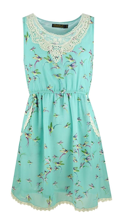 Damen ärmellose Sommerkleid mit Hummingbird-Muster und Seitentaschen