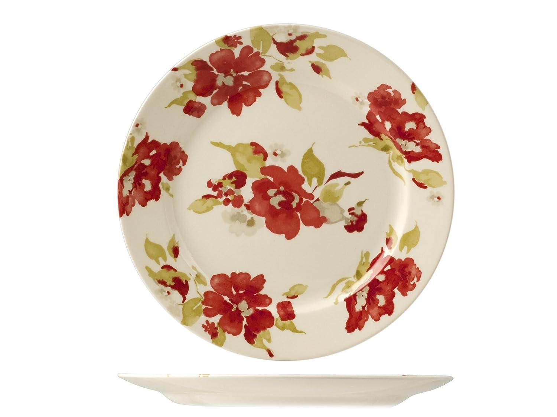 HOME 9930701 H/&H Set 6 Piatti Passion Blossom Piano cm26,6 Stoviglie Multicolore