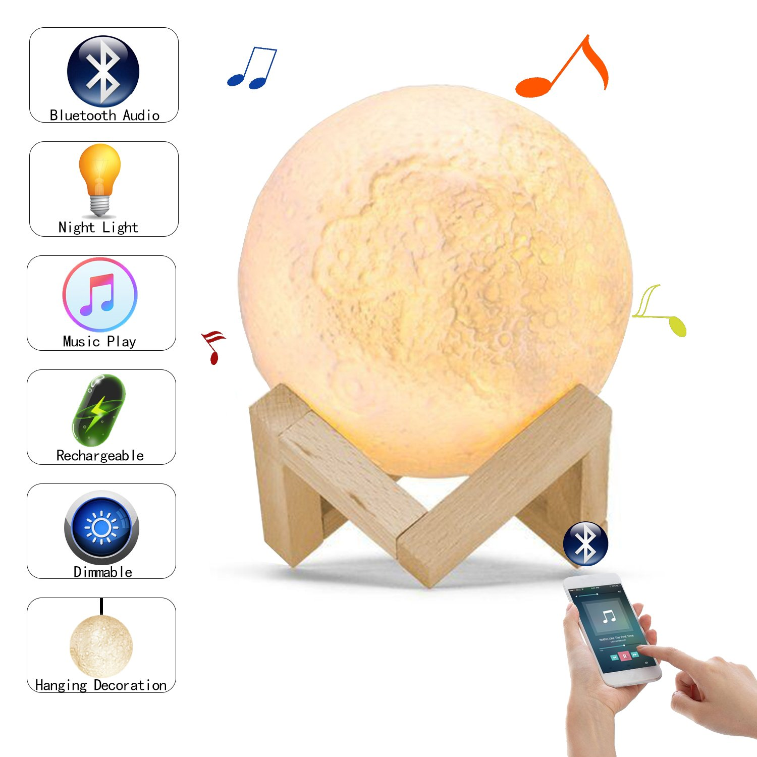 Moon Light, 3D Printed LED Moon Lamp Speaker, USB Rechargeable Touch Control Warm White & Cool White Stepless Dimmable,5.1 Inch (Moon Light Speaker) by baby way