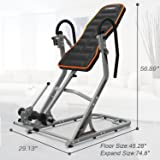 HARISON Heavy Duty Inversion Table, Therapy Table for Back Pain with 180° Full Inversion, Memory Foam for 3D Backrest, Ergonomics Design, Adjustable Four Angle, 4.8''-6.4'' for Height