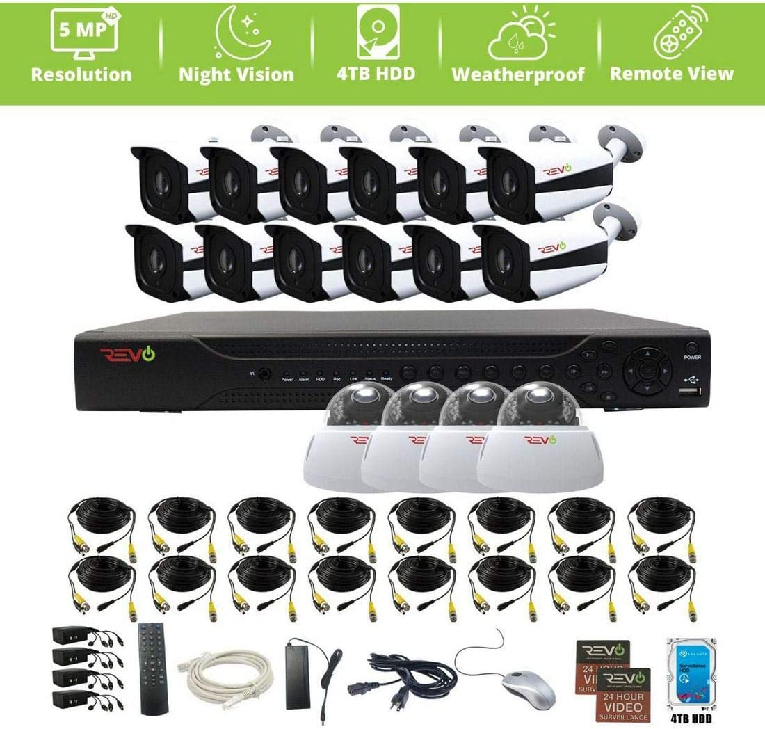 Revo America Aero HD 16 Ch Five Megapixel DVR, 4TB HDD 16X 5 Megapixel Indoor Outdoor IR Cameras – Remote Access – Two-Step Smartphone View Set-Up Available for Both iPhone Android Versions