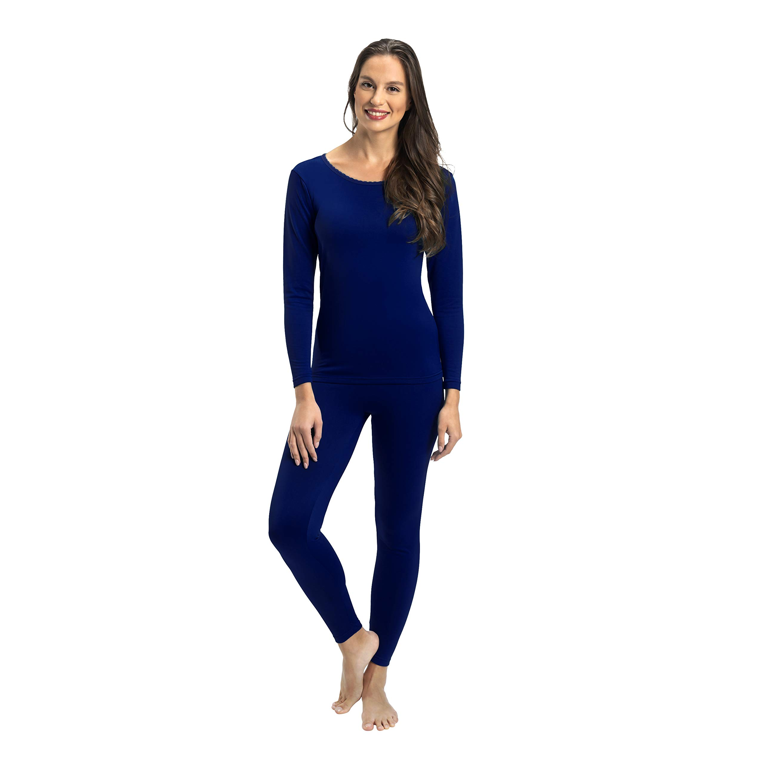 Rocky Womens Thermal 2 Pc Long John Underwear Set Top and Bottom Smooth Knit (2Xlarge, Navy) by Rocky