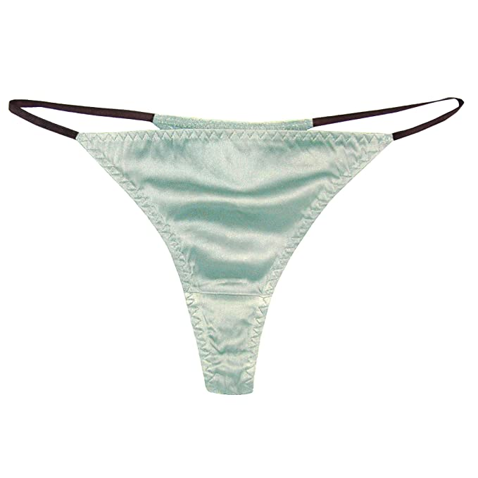 13c2d4314fd 93% Silk 7% Spandex Women's Low Rise Sexy Thong 015 Aqua L/XL ...