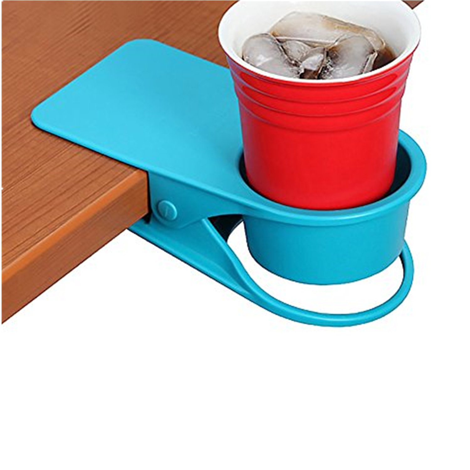 Mai Poetry Mai Poetry Drinking Cup Holder Clip,Home Office Table Desk Side Huge Clip Coffee Mug Holder Cup Saucer Design (Blue)