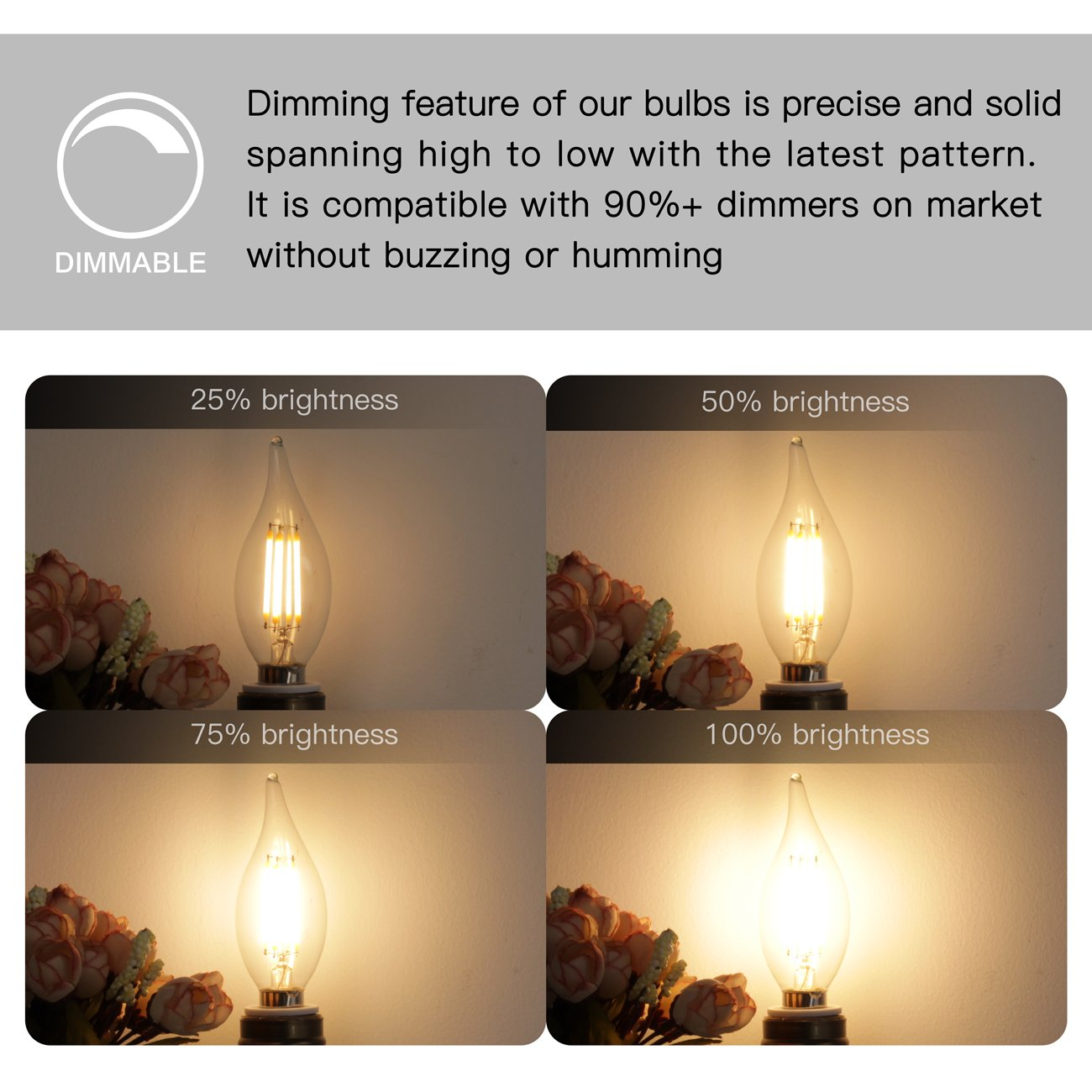 E12 LED Candelabra Bulb 60W Equivalent Dimmable LED Chandelier Light Bulbs 6W 2700K Warm White 550LM CA11 Flame Tip Vintage LED Filament Candle Bulb with Decorative Candelabra Base, 6 Packs, by Boncoo by Boncoo (Image #4)