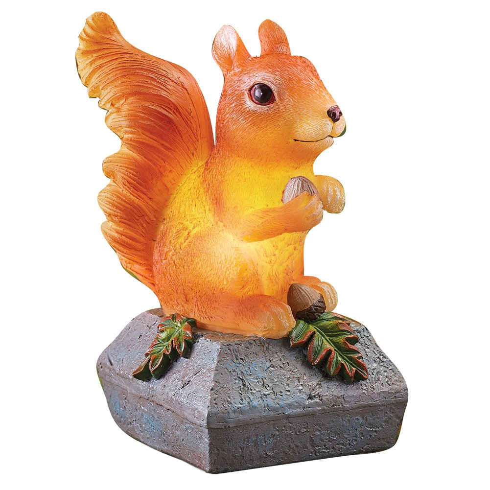 Collections Etc Adorable Solar Lit Squirrel, Fence and Bannister Post Cap Outdoor Decoration