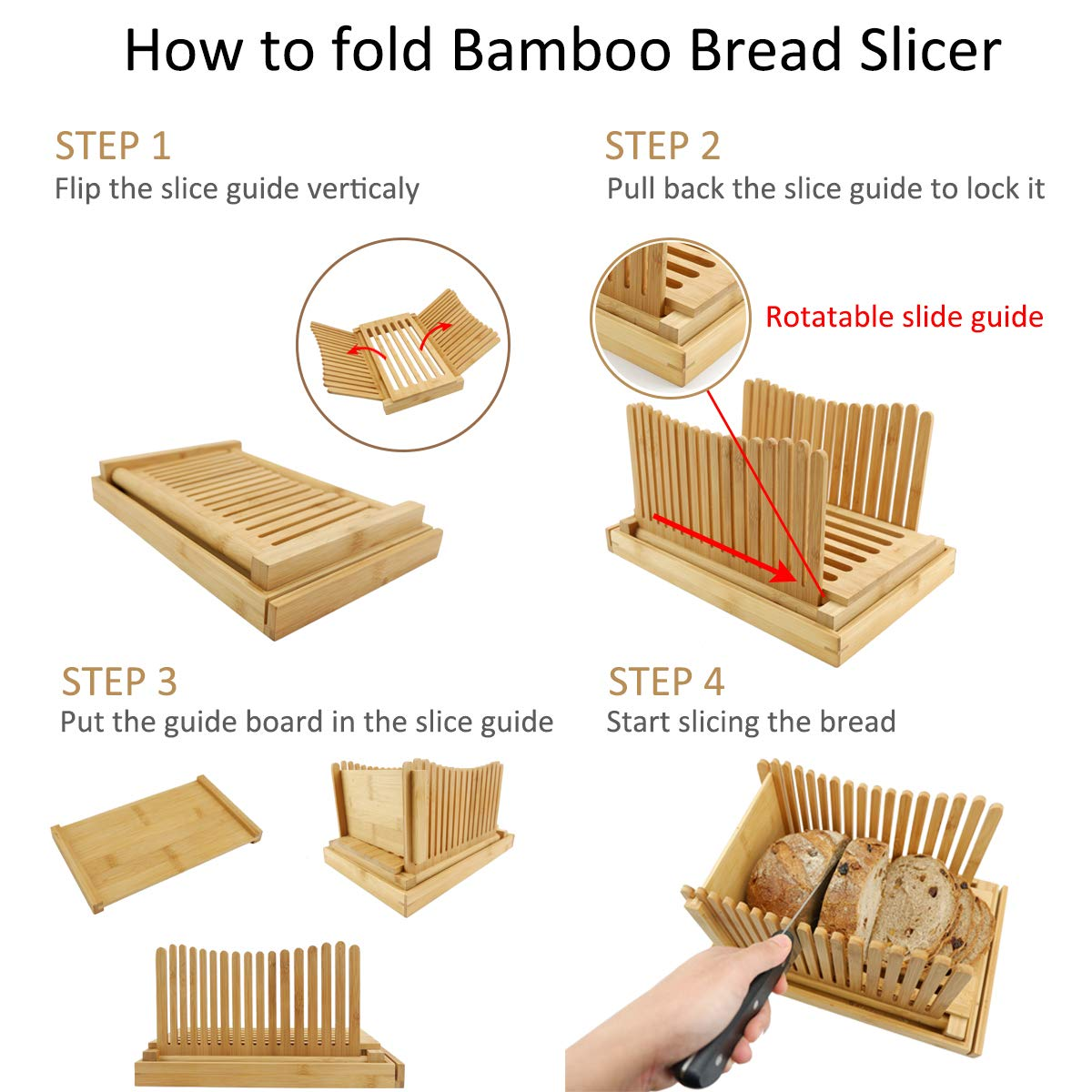 MAGIGO Nature Bamboo Foldable Bread Slicer with Crumb Catcher Tray, Bread Slicing Guide and Knife Rest for Homemade Bread & Loaf Cakes, Thickness Adjustable, Contains 20 Bread Bags & 20 Twist Ties by MAGIGO (Image #6)