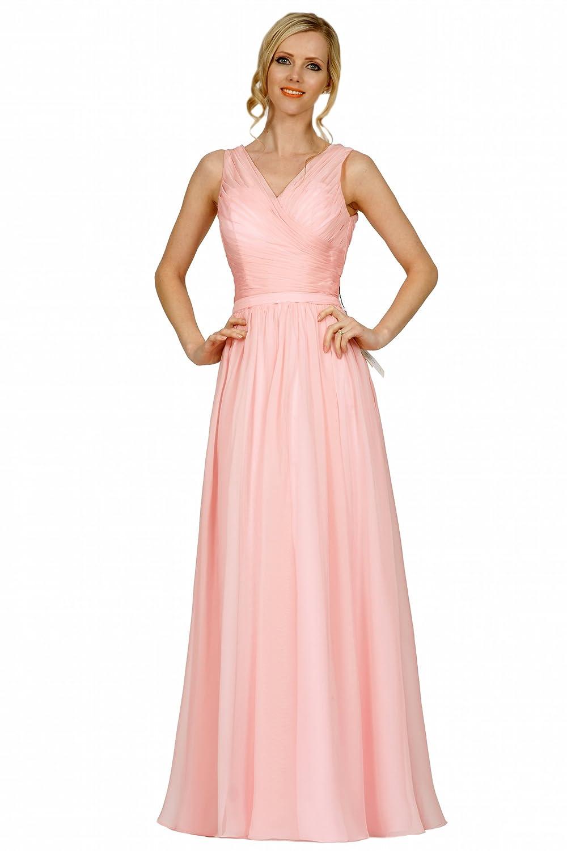SEXYHER V-neck Neckline Criss-Cross Ruching Style Bridesmaids Formal Floor-length Evening Dress -EDJ1742