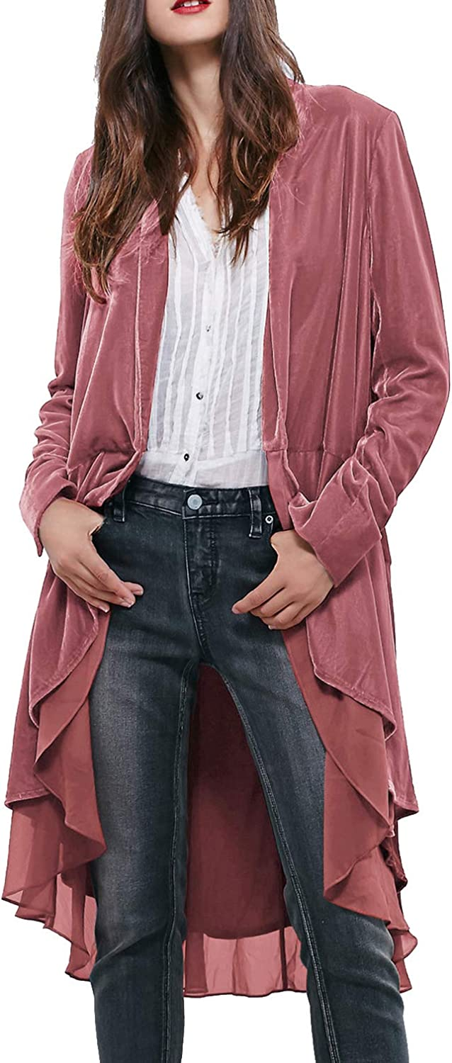 1920s Coats, Furs, Jackets and Capes History R.Vivimos Womens Ruffled Asymmetric Long Velvet Blazers Coat Casual Jackets $29.99 AT vintagedancer.com