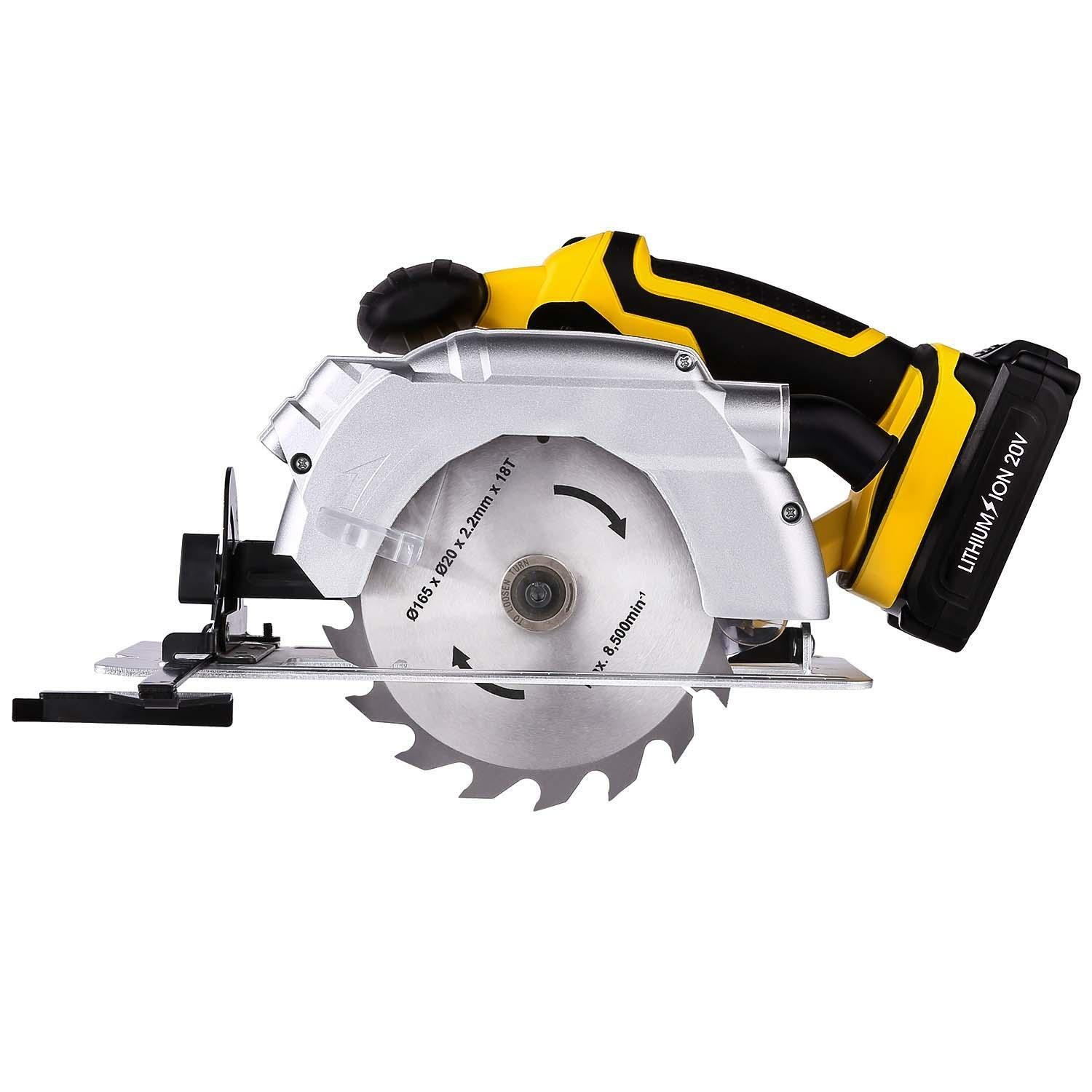 20v Electric Circular Saw,165mm Lade Cutter Bar (20 mm) Wood Cutting Tools, Spindle Lock Laser, Protection Board Bevel, Guide and Carbide-Tipped Blade [US STOCK]