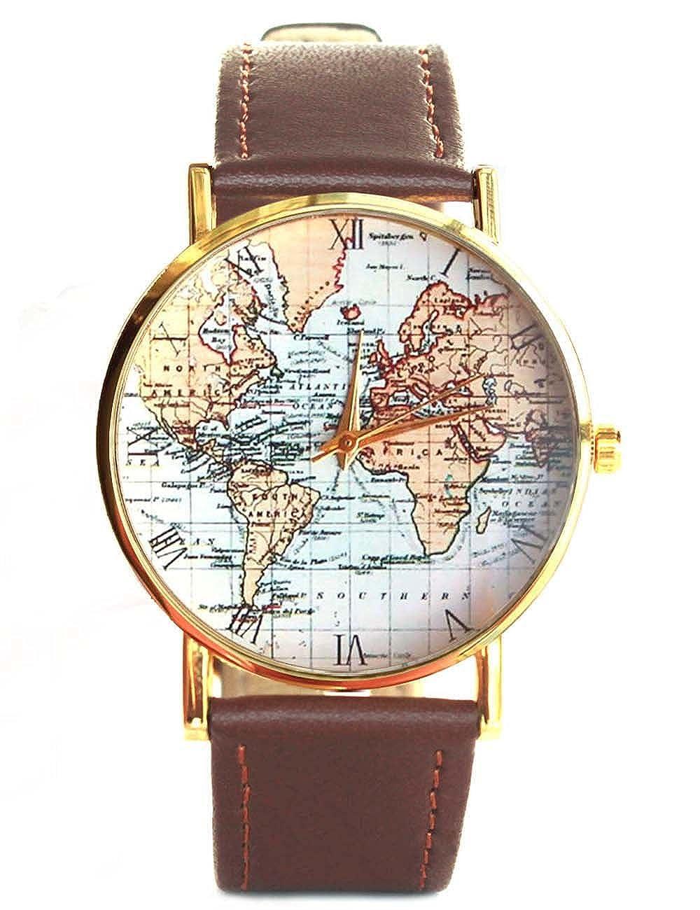 Amazon.com: Ancient Old World Map Original Design Unisex Brown Leather Wrist Watch: Watches