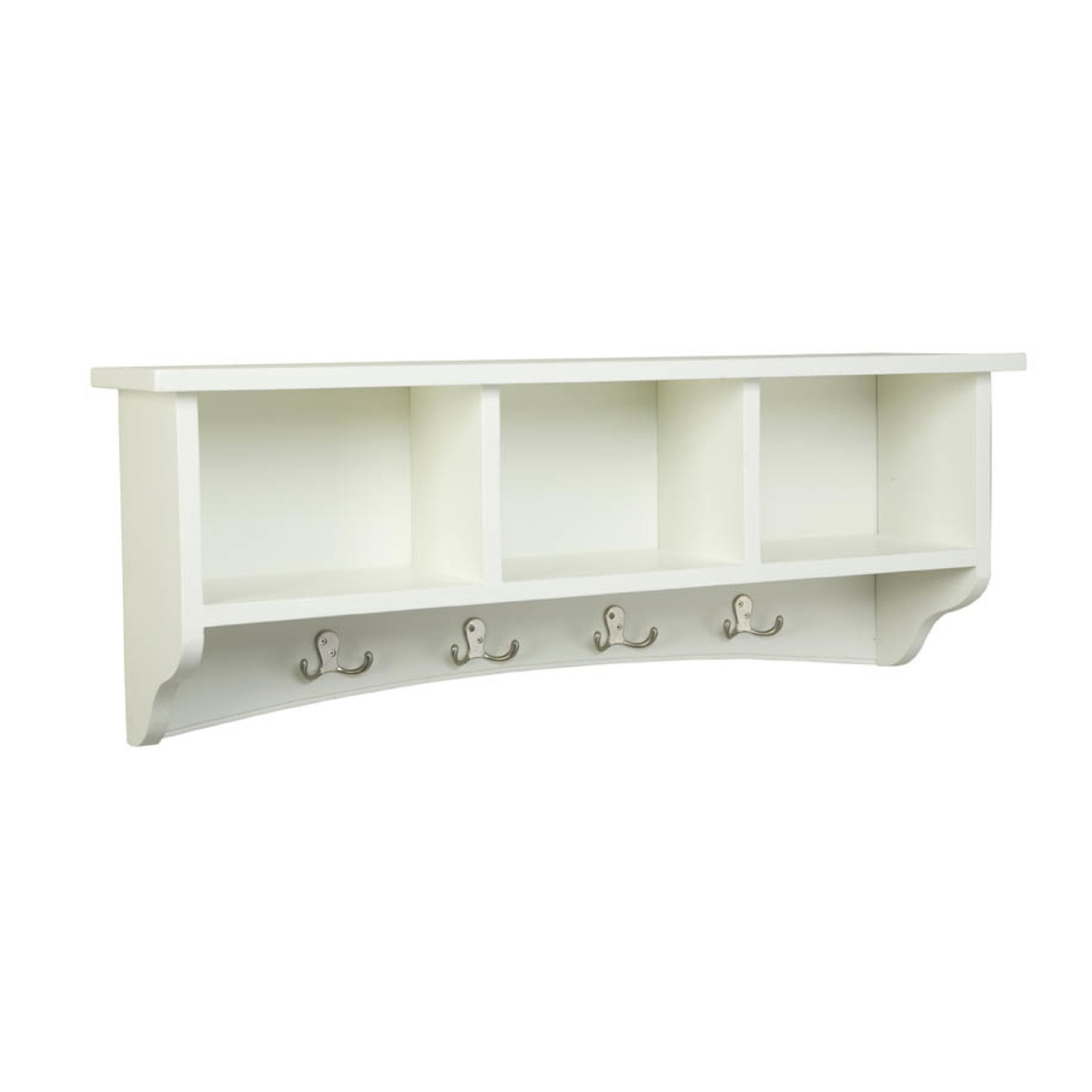 Shaker Cottage Wall Mounted Coat Hooks with 3 Cubbies, Ivory by Alaterre