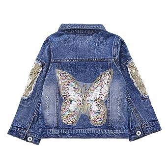 CYSTYLE Frühjahr Herbst Kinder Mädchen Schmetterlinge Langarm Denim Jeansjacke Jacket Übergangsjacke mit Pailletten