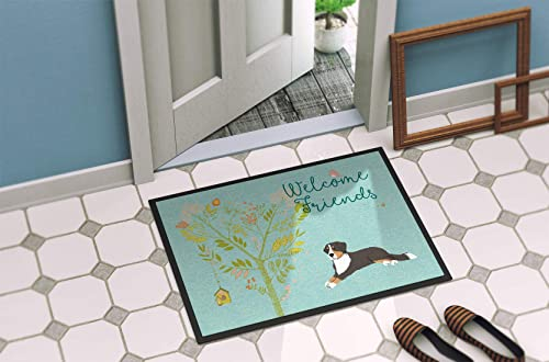 Caroline s Treasures BB7579JMAT Welcome Friends Bernese Mountain Dog Indoor or Outdoor Mat 24×36, 24H X 36W, Multicolor
