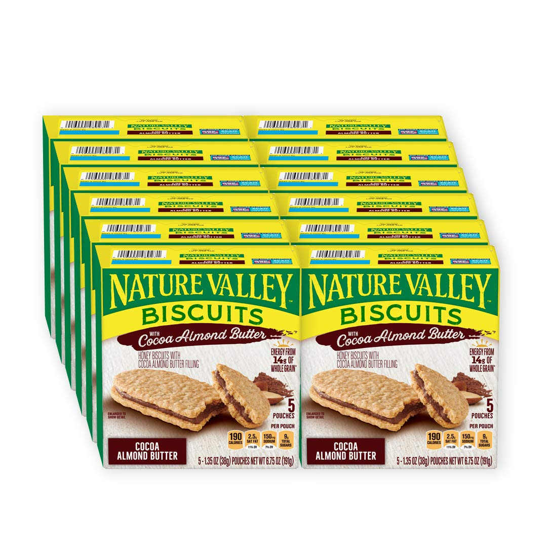 Nature Valley Biscuits With Cocoa Almond Butter 5 Ct Box, 6.75 Ounce (Pack Of 12)