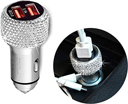 QC3.0 Fast Car Charger Bling Bling Crystal Car Decorations for Fast Charging Car Decors for iPhone Samsung Galaxy s8//S7//S7 Edge//S6//Edge Sliver HTC Android Dual USB Car Charger Nexus 6P//5X,LG Nexus