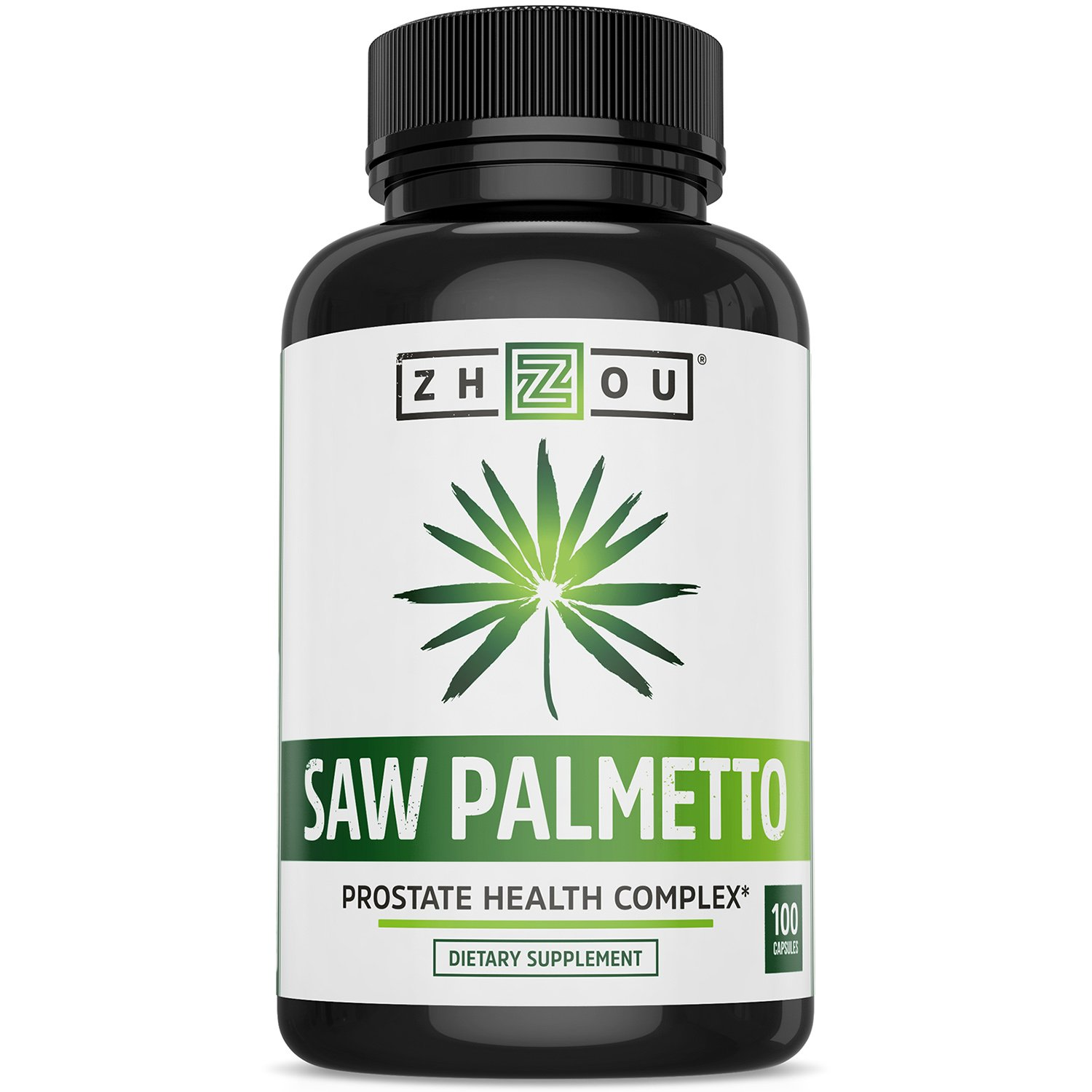 Saw Palmetto Supplement For Prostate Health - Extract & Berry Powder Complex - Healthy Urination Frequency & Flow Formula - May Help Block DHT - 500mg Capsules by Zhou Nutrition