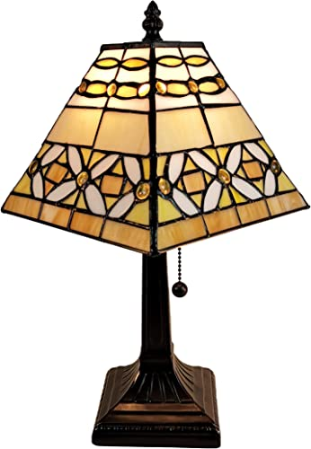 Amora Lighting Tiffany Style Mini Accent Lamp Mission 15 Tall Stained Glass White Yellow Tan Vintage Antique Light D cor Nightstand Living Room Bedroom Office Handmade Gift AM207TL08B, Multicolored