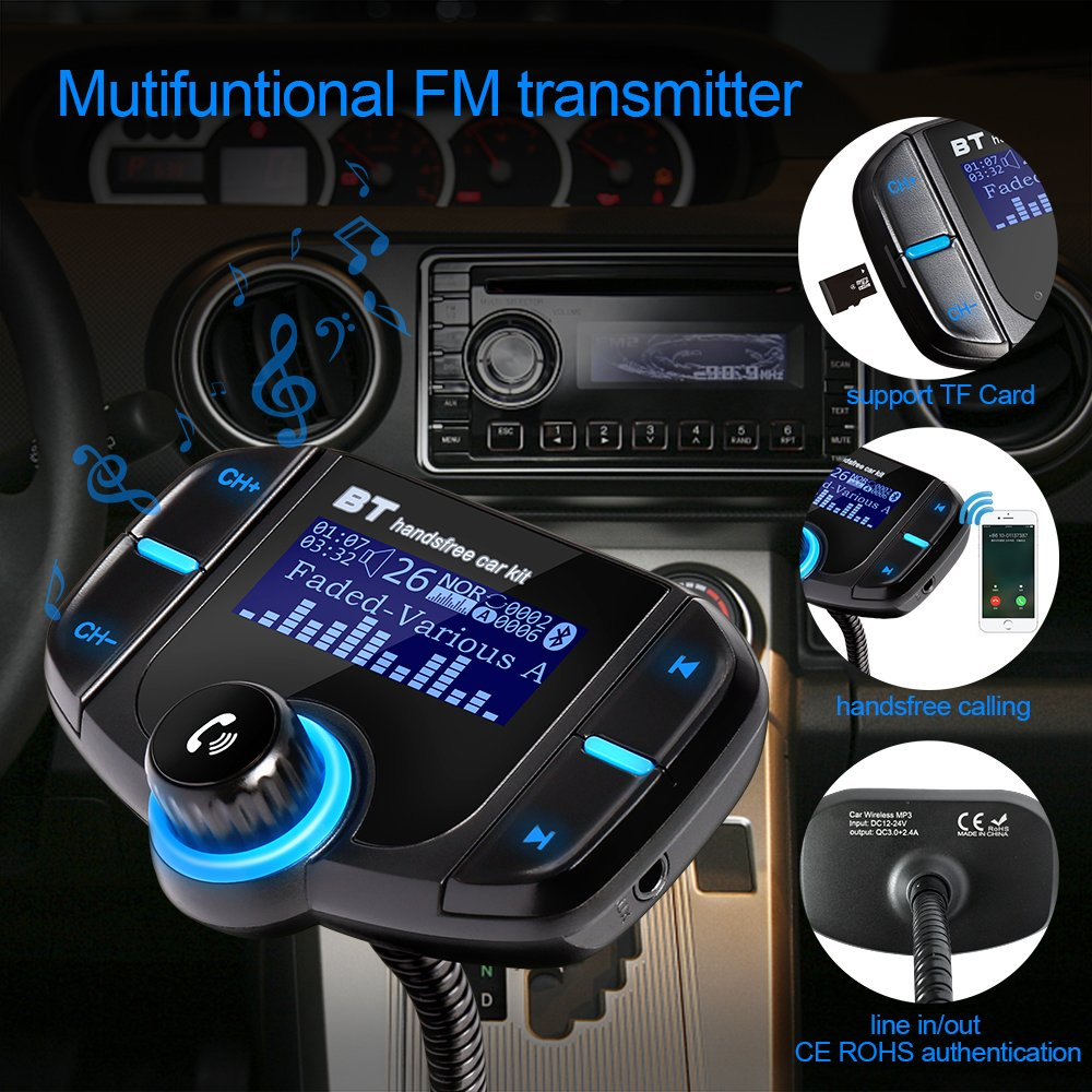 Car Bluetooth FM Transmitter with Large Screen,Wireless Car Charger,Handsfree Car Kit,Bluetooth Car Adapter with 2 Fast USB Ports,MP3 Player Radio Player Support TF Card USB Disk,AUX Import/Outport