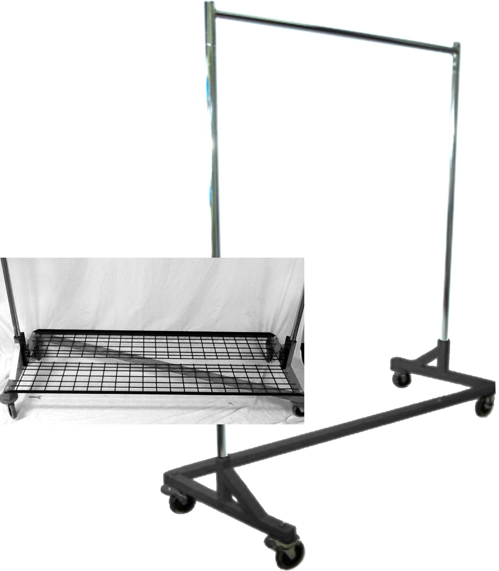 Rolling Z Rack Clothing Clothes Rack Garment Rack with Bottom Shelf Combo in Black