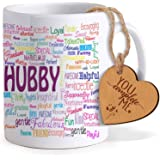 Tied Ribbions Coffee Mug with Heart Shaped Wooden Engraved Tag, 325ml, 2-Pieces, Multicolour