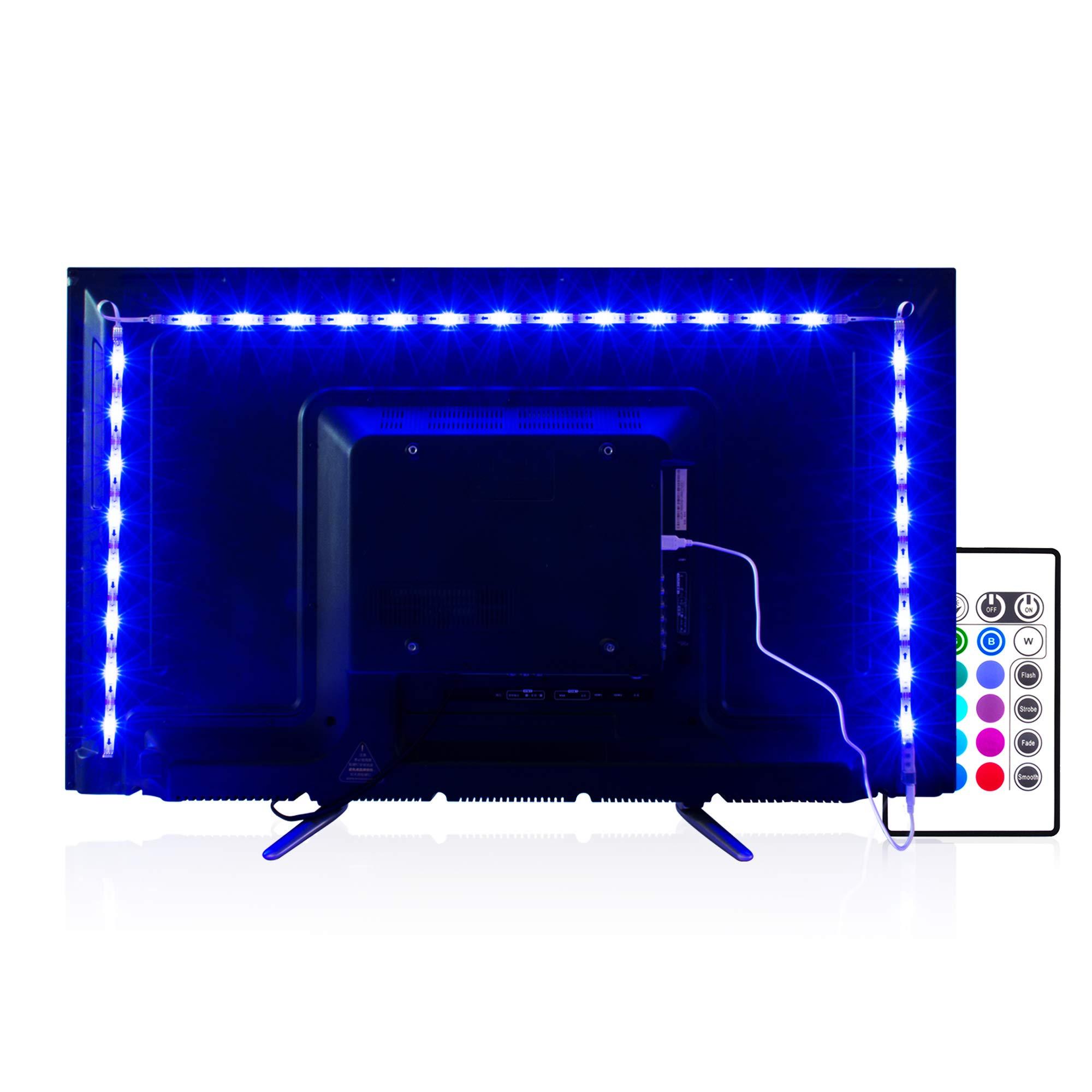 PANGTON VILLA Led Strips Lights, 2m USB TV Backlight Kit with Remote for 40-60in TV, Bias Lighting RGB Light Strips TV Led Lights [Energy Class A+]