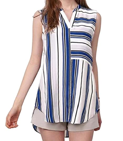 dadaff6735 MLG Women s Baggy Plus-Size Stripes Sleeveless Cotton T-Shirt Top Blue XS