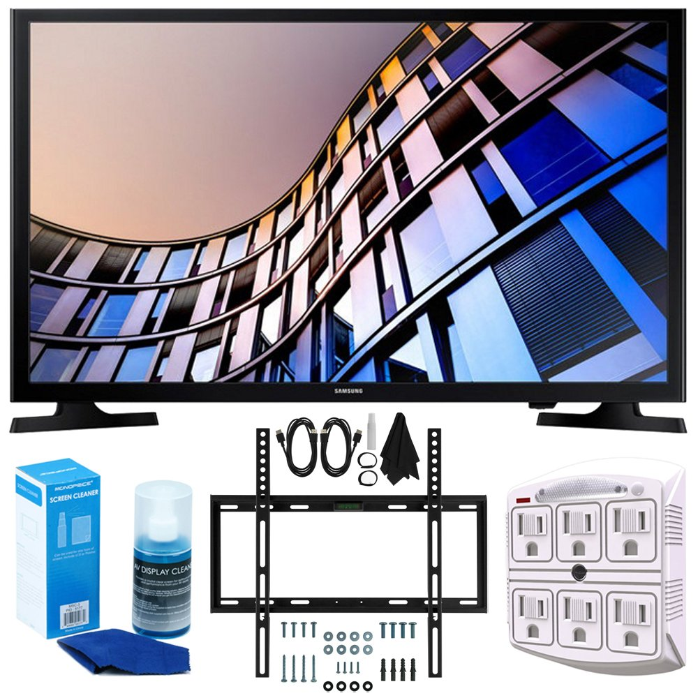 Samsung UN24M4500 23.6'' 720p Smart LED TV (2017) + Slim Flat Wall Mount Kit Ultimate Bundle for 19-45 Inch TVs + SurgePro 6-Outlet Surge Adapter w/ Night Light + LED TV Screen Cleaner