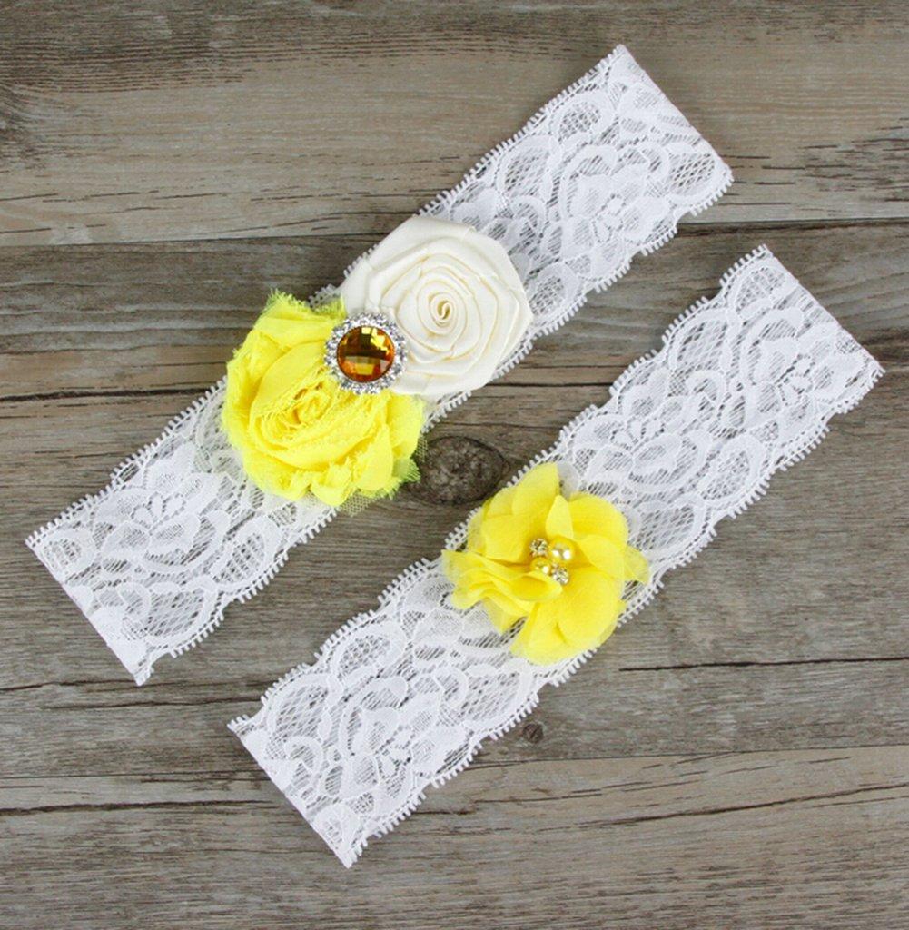Red Jungen wedding giarrettiere per spose pizzo cintura flessibile e elastico 2-pack medium giallo