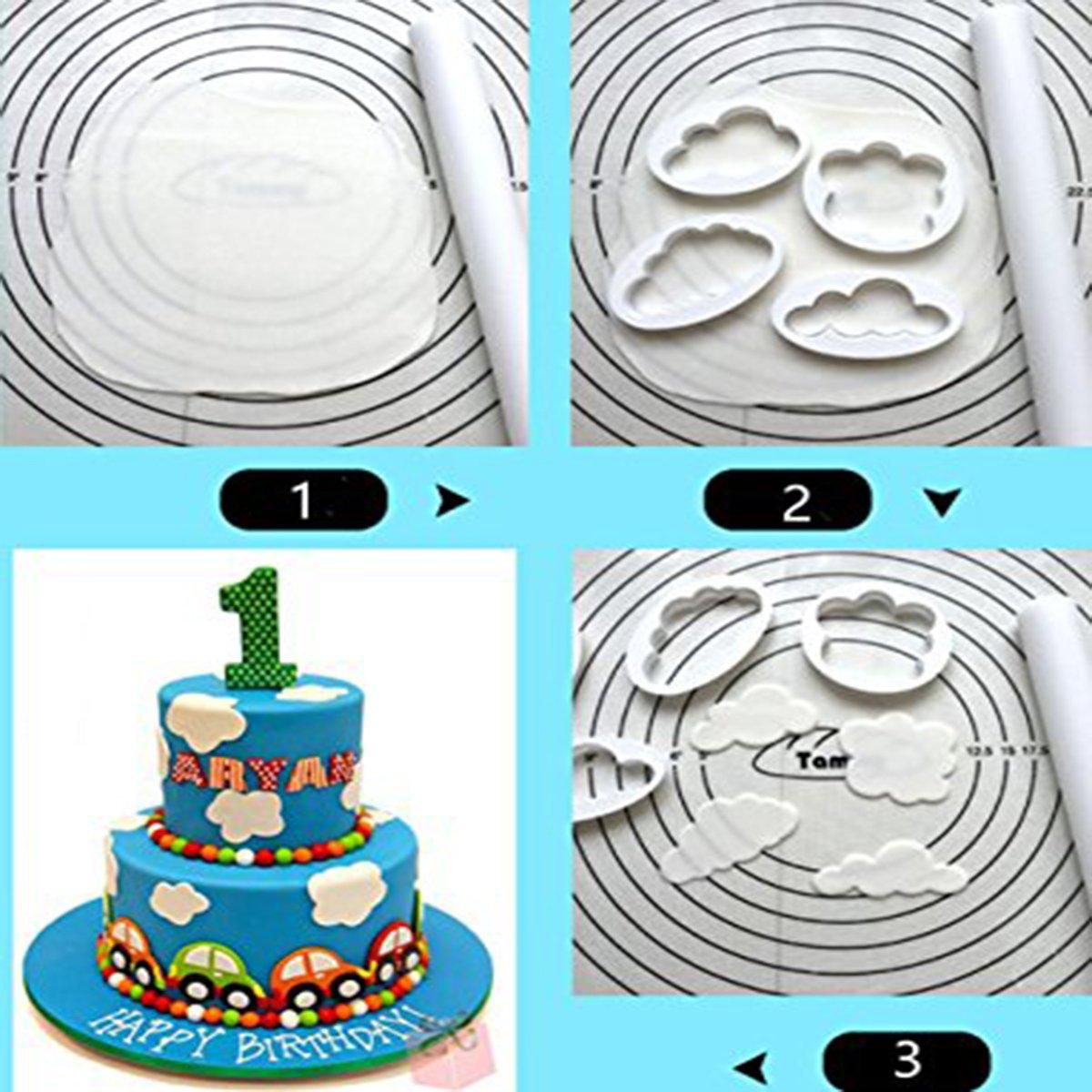 YIJIA 4 Pcs/Set 5 Pcs/Set Cloud Plastic Cake Cookie Buscuit Cutter Mold Fondant Mould pack of 2