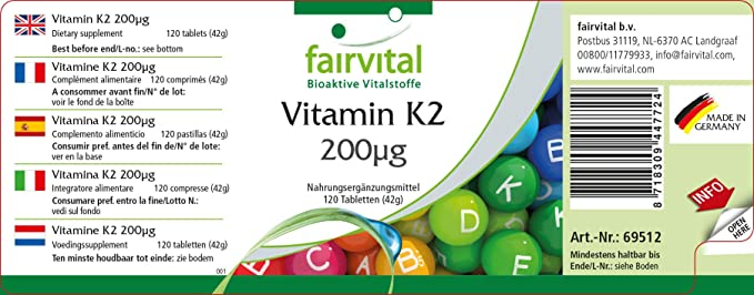 Vitamina K2 200 mcg - Bote para 4 meses - VEGANO - Alta dosificación - 120 comprimidos - menaquinona de natto - todo-trans MK-7: Amazon.es: Salud y cuidado ...