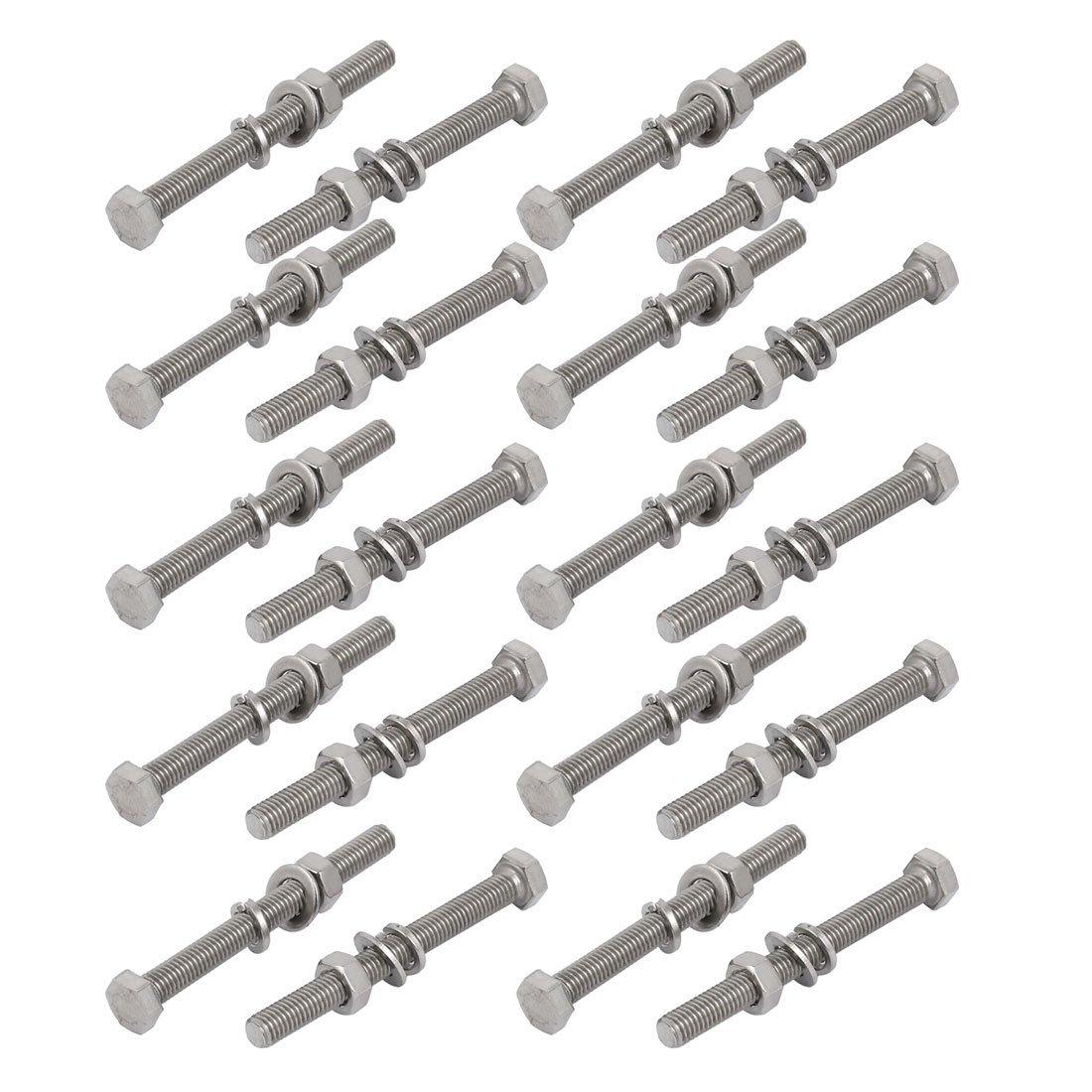20pcs 304 INOX M5x50mm vis Hex /Écrou rondelle Kit Assortiment